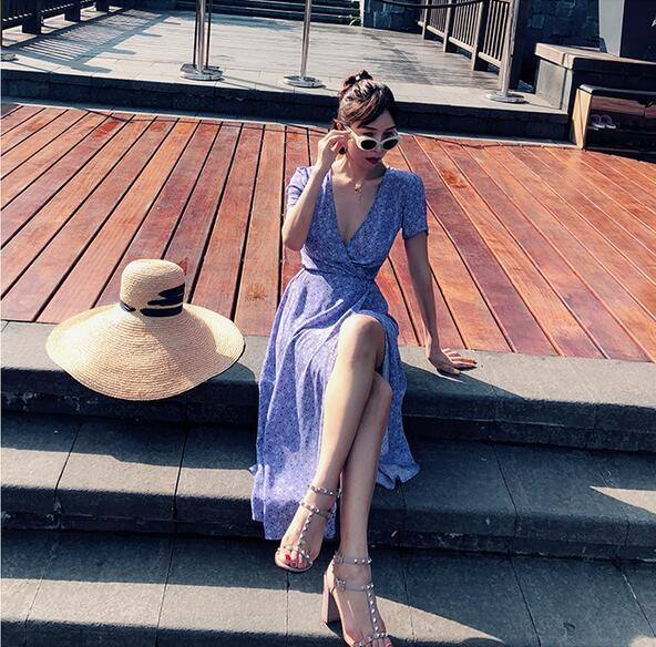Teale Frais Femmes Sexy Ceinture Purple Courtes Soie Cou Robe Avec Haze Manches Mi V À Wrap Impression Profonde La Lavande RLq53j4A
