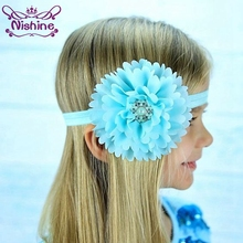 Nishine 16 Colors Peony Flowers Girls Headband Party Clothing Matching Hair Accessories Dancing Headwear Pearl Headdress