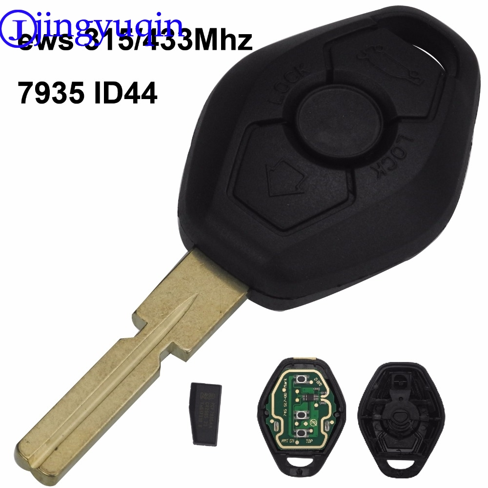 jingyuqin Hu58 4 Buttons Remote Key Case For BMW E38 E39 E46 EWS System ASK 433MHz 315MHz With PCF7935AA ID44 Chip Uncut Blade