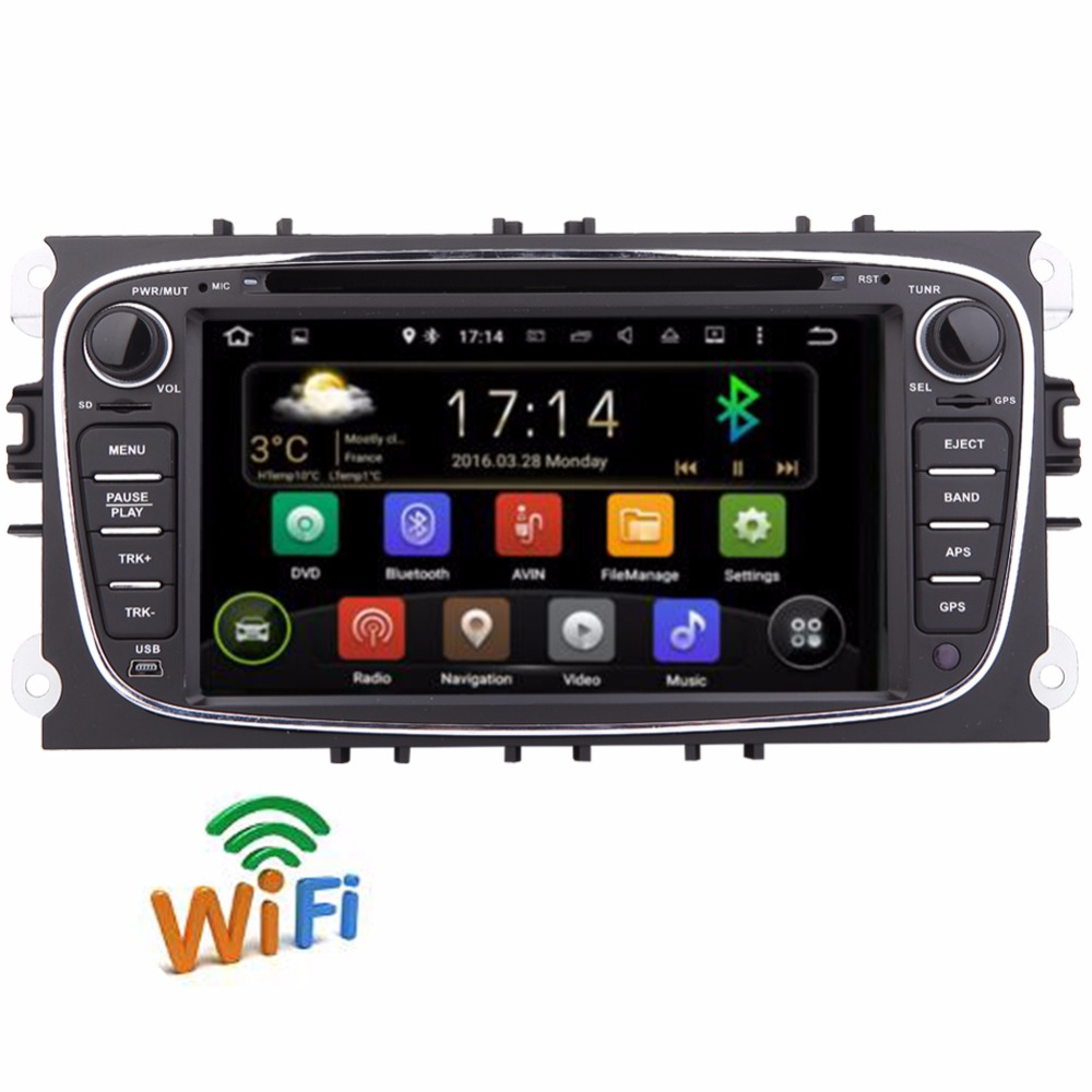 Android 2Din 7Inch Car DVD Player for FORD FOCUS MONDEO 2012 2013 2014 2015 With WIFI Radio GPS Bluetooth for ford car dvd focus