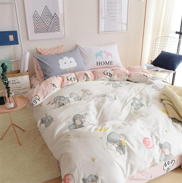 Cartoon elephant bedding set cotton teen child,twin full queen king single  double home textile flat sheet pillowcase duvet cover