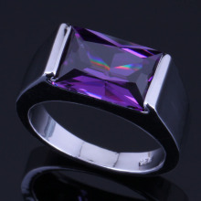 Sparkly Rectangle Purple Cubic Zirconia 925 Sterling Silver Ring For Women V0396