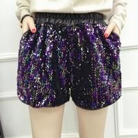 LYFZOUS Plus Size Sexy Pu Leather Sequined Shorts Women High Waist Casual Wide Leg Shorts Feminino Elastic Waist Shorts Mujer