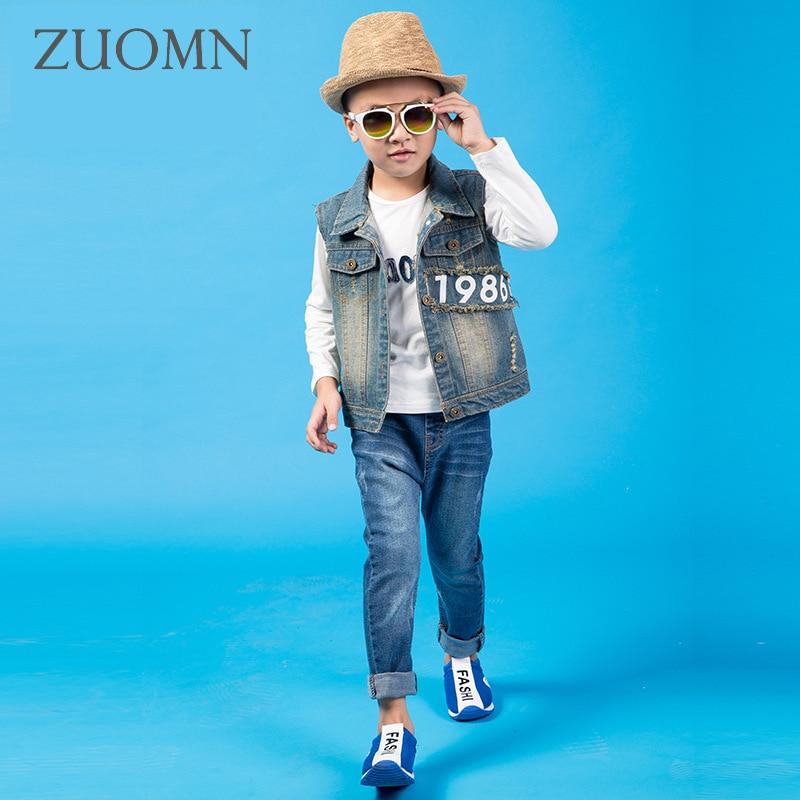 Boys School Sets Teenage Cowboy Coats Children's Clothes Kids Denim Suits Tracksuit Boy Jeans Pants Outerwear Trousers GH195