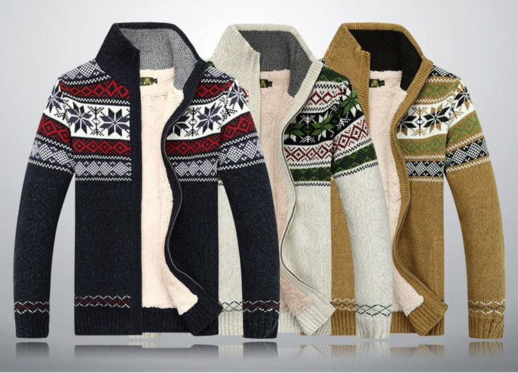 Men Sweater Fashion Autumn Winter Wool Cardigan Men\'s Casual Thick Warm Sweater Male 2016 AFS JEEP Knitting Sweter Hombre M-3XL  (7)