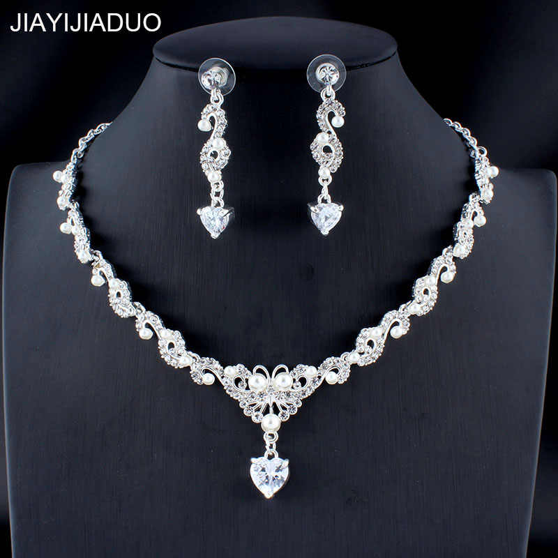 jiayijiaduo Classic Wedding Jewellery Set Silver/Gold Color Faux Pearl Necklace Earrings Set Accessories for Women dropshipping