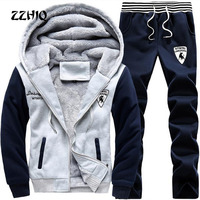 2018 Brand New Men Set Fashion Winter Tracksuits Thick Lined Hoodies Sweatshirt + Pants Track Suit Mens Sportswear Sweat Suit