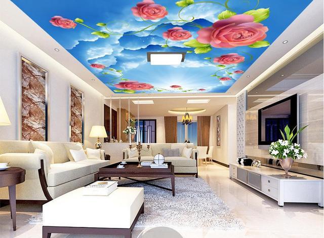US $23.46 49% OFF Custom foto tapete 3d decke wandmalereien Sky rose 3d  decke tapete für badezimmer decke 3d tapeten für wand in Custom foto tapete  ...