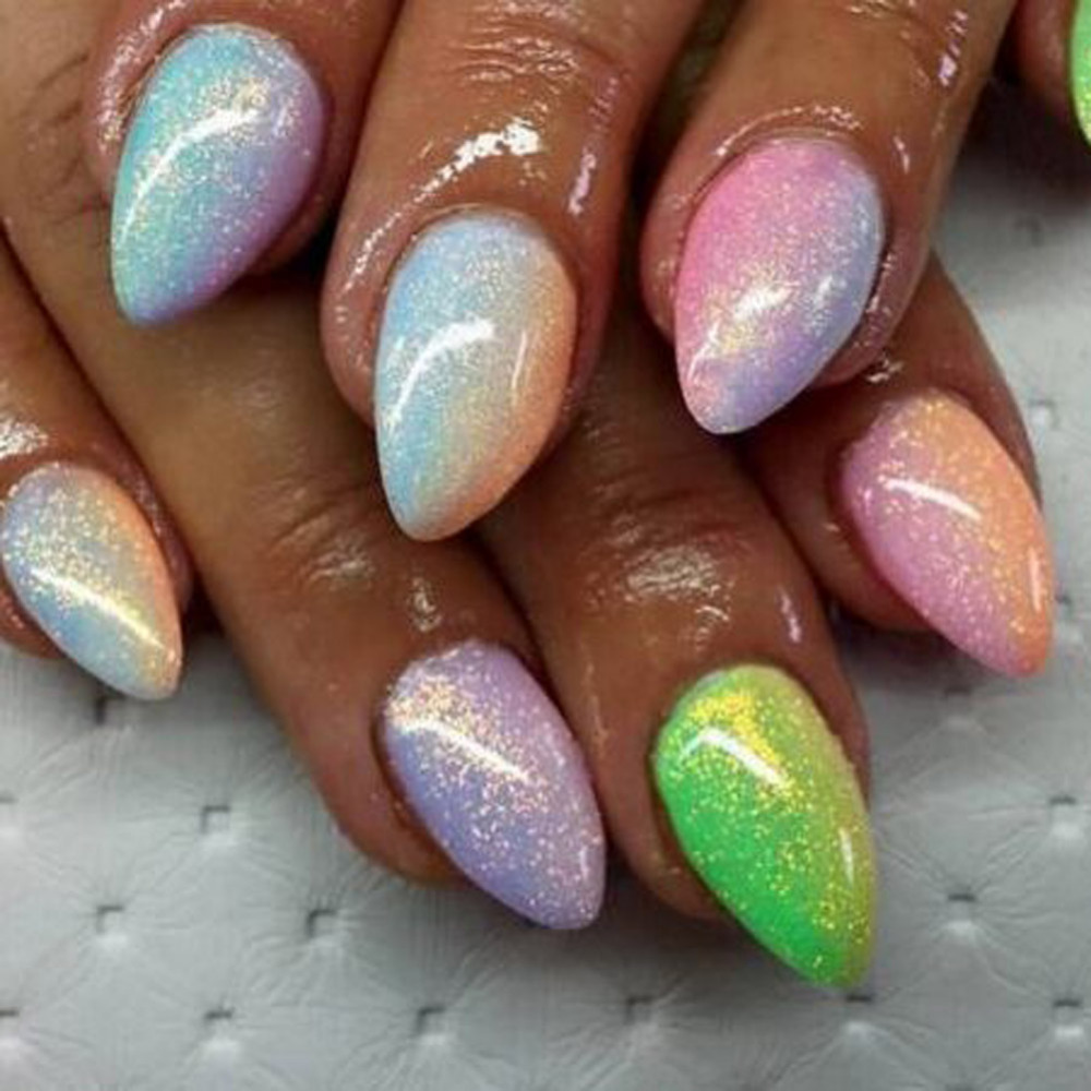 2019 10g New Mermaid Effect Nail Glitter Polska Sparkly Magic Glimmer Pulver Damm DIY Nail Tip Decoration Verktyg Gel UV Nails Art