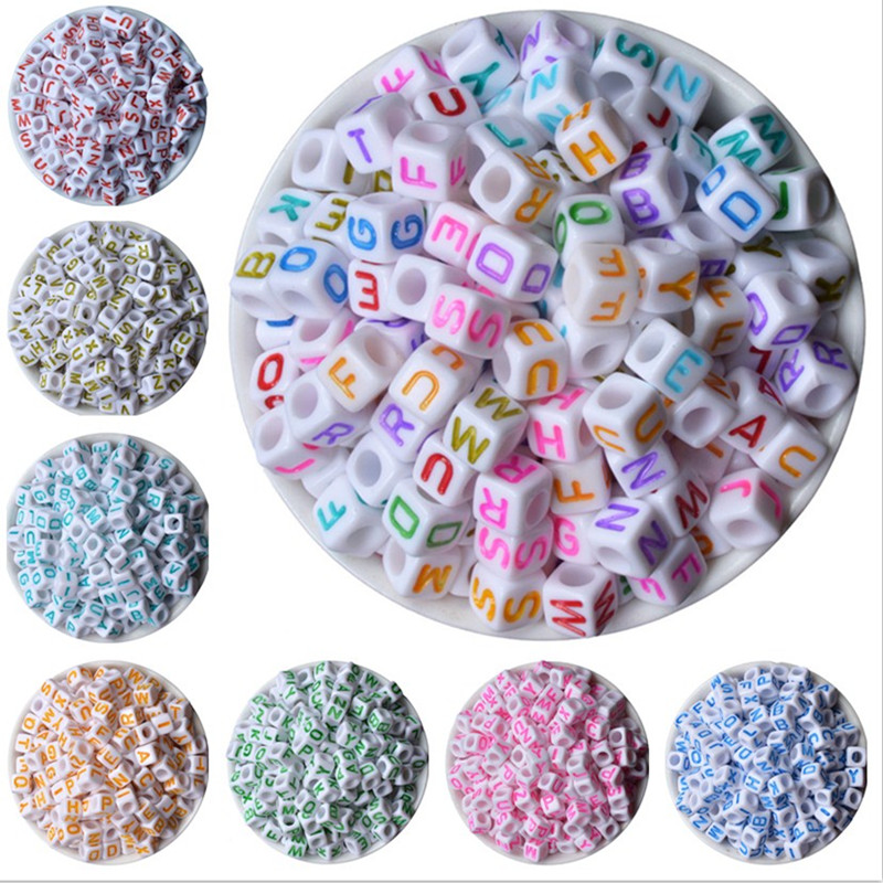 Box hot- Mixed Color Square Alphabet /Letter beads Acrylic Cube Beads 6x6mm Sold Per Pack oF 200
