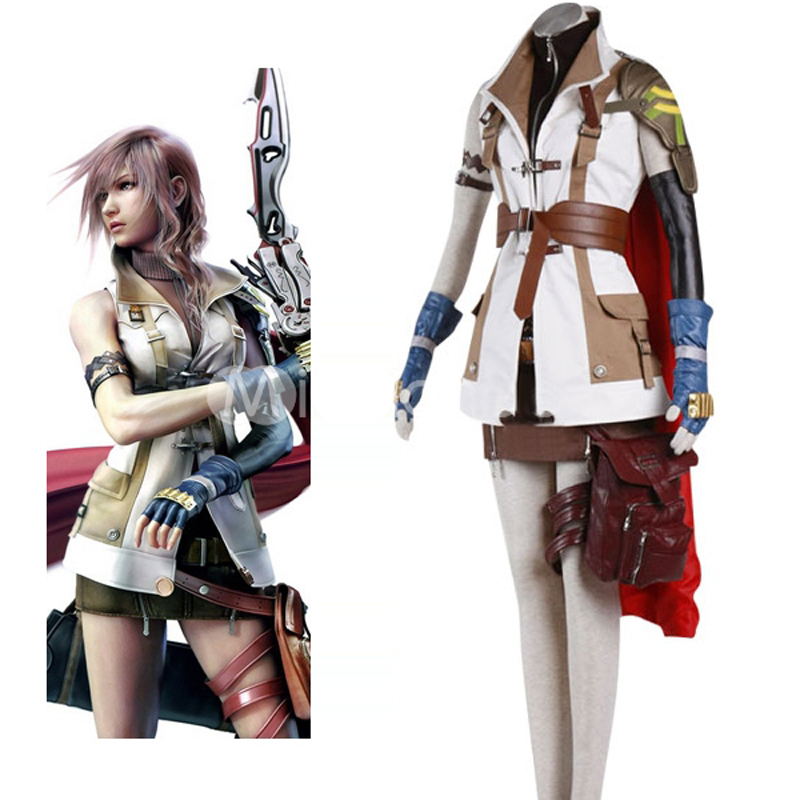 High Quality Final Fantasy XIII Lightning Cosplay Unifrom Suit Women Girl Halloween Costumes Custom-made Whole Set Free Shipping