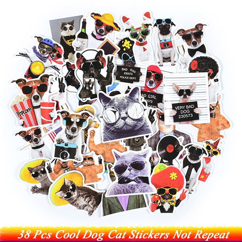 38Pcs Cool Dog Cat With Sunglasses Stickers Suit Cat Gentleman Dog Cute Animal Stickers Toys For Kids DIY Laptop Luggage Gifts