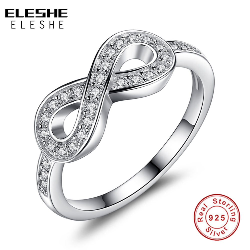 ELESHE Original 925 Sterling Sølv 8-formet Bowknot Infinity Finger Rings Micro CZ Crystal Rings For Women Bryllup Smykker Gave