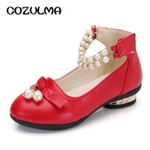 COZULMA Autumn Girls Dress Shoes Kids PU Leather Shoes Girls Princess Pearl Strip Shoes Children Kids Bow Party Shoes Size 27-37