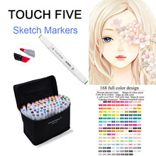 TOUCHFive Single Art Markers Pen Drawing White Dual Head Alcohol Sketch Marker Pen For Choose Color Manga Painting Art Supplies
