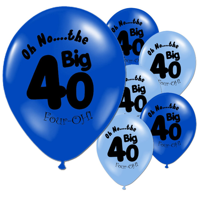 10 PCS Light Dark Blue 40th Birthday Party Latex Wedding Anniversary Happy Balloons