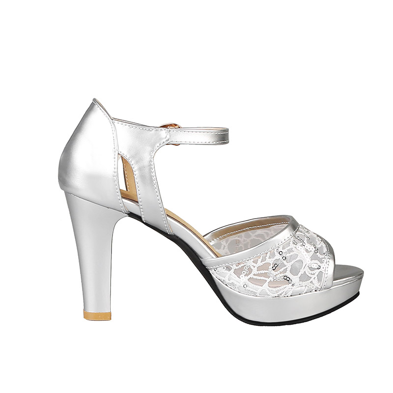 Image 2 - Phoentin 2019 summer mesh women high sandals silver platform sandals strap patchwork PU leather woman peep toe shoes sexy FT620High Heels   -