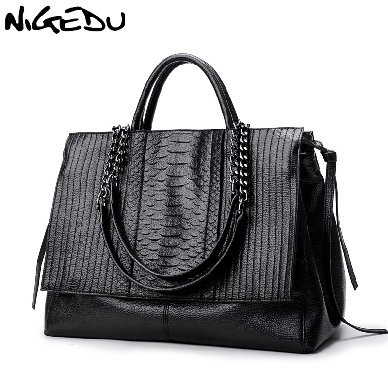 NIGEDU Brand Design Women Handbag Luxury Simple Crocodile  Leather Handbags Chain Women's Shoulder Bag Black Big Totes Bolsas