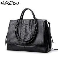 NIGEDU Brand Design Women Handbag Luxury Simple Crocodile Leather Handbags Chain Women S Shoulder Bag Black