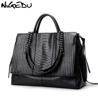 NIGEDU Brand Design Women Handbag Luxury Simple Crocodile Leather Handbags Chain Women S Shoulder Bag Black
