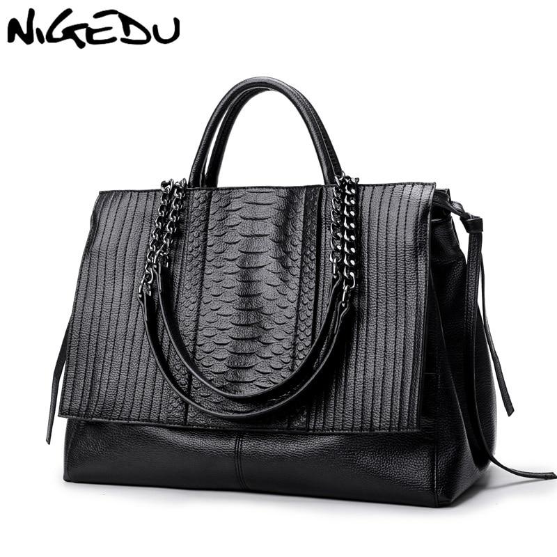 NIGEDU marque design femmes sac à main luxe Simple crocodile cuir sacs à main chaîne femmes sac à bandoulière noir gros Totes bolsas