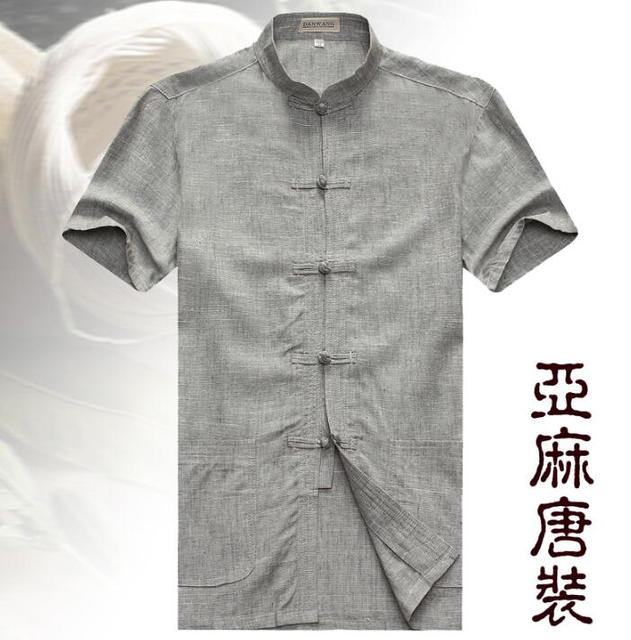Male tang suit linen summer short-sleeve t shirts mens stand collar  quinquagenarian chinese style tunic suit men t-shirt grey ca473246f