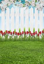 Laeacco Photo Backdrop For Photography Gray Wooden Fence Green Grass Lawn Flowers Rose Baby Child Backgrounds Studio