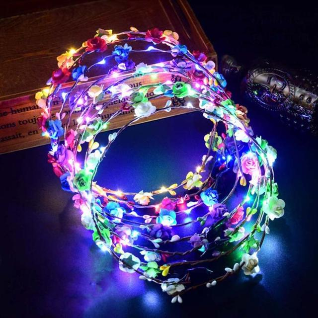 1 Pc New Hot Selling Women LED Light Up Hair Wreath Hairband Garlands Party Crown Flower Headband glowing wreath