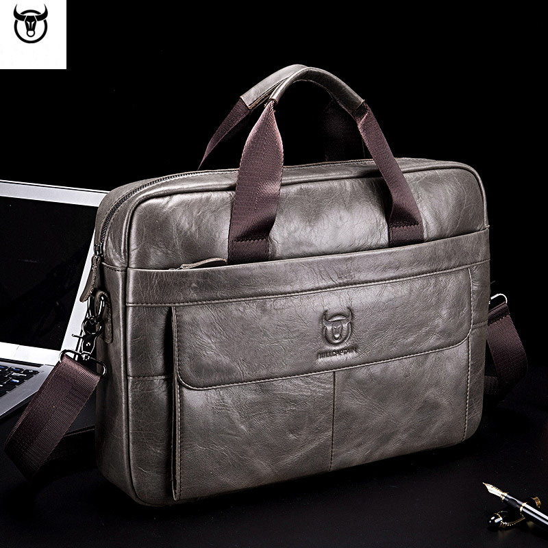 Genuine Leather Briefcase Men Laptop Bag Cow Leather Men Messenger Bags High Quality Male Briefcases Sac Homme WBS741