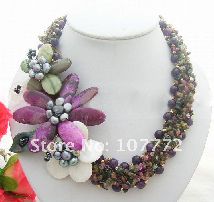 Collier en perles et Tourmaline et cristal violet