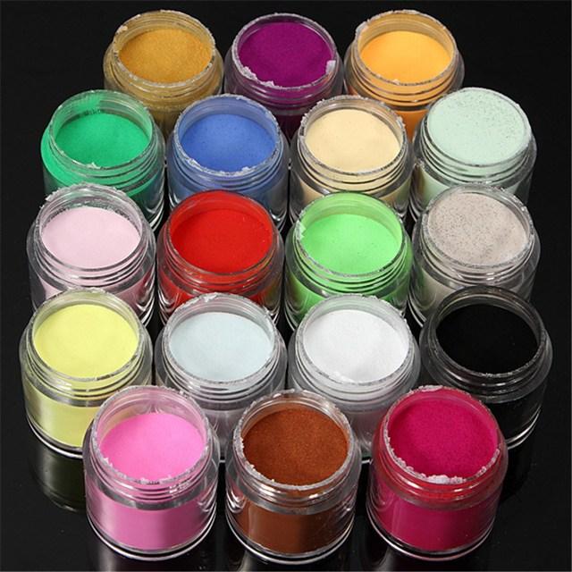 Profesional de 18 Colores Del Arte Del Clavo Del Polvo Del Polvo de Acrílico UV Gel Polish Glitter Kits Consejos Salon DIY Decoración Manicura Herramientas Sets