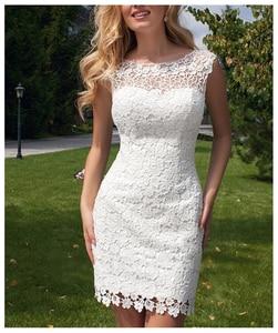 Image 2 - LORIE 2019 Neue Prinzessin Hochzeit Kleid mini Appliqued Abnehmbare Zug Brautkleid Sleeveless Boho Freies Verschiffen Braut Kleid