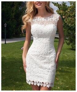 Image 2 - LORIE 2019 New Princess Wedding Dress mini Appliqued Detachable Train Wedding Gown Sleeveless Boho  Free Shipping Bride Dress