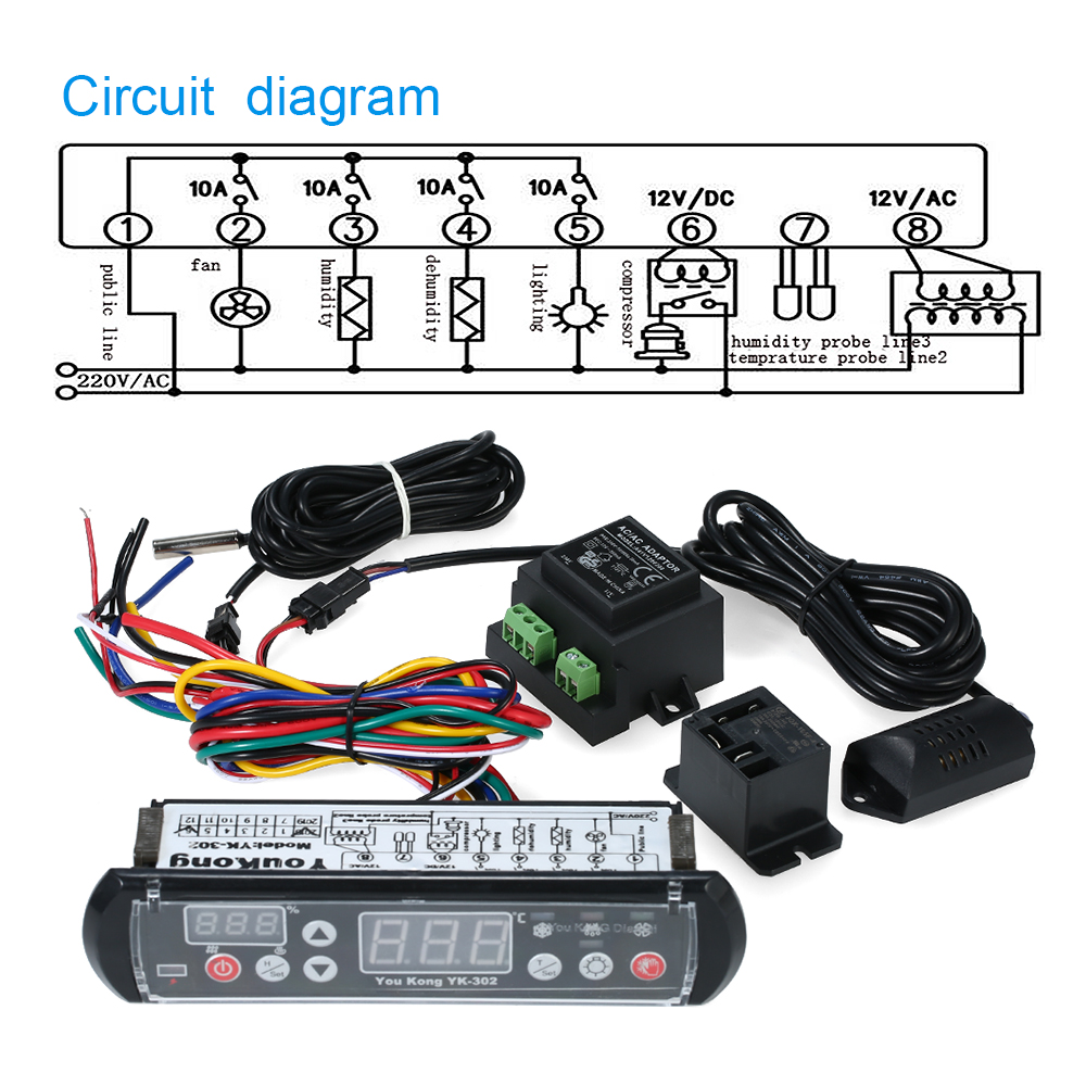 Hot Sale Youkong Thermostat Hygrostat Digital Temperature And Humidity Wiring Diagram Controller Microcomputer Thermal Regulator