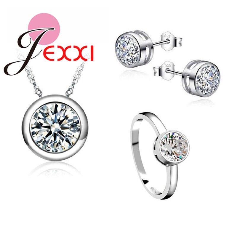 JEXXI Clássico Mulheres de Noivado 925 Sterling Silver Shinny CZ Casamento Colar/Brinco/Anel Conjuntos de Jóias Para As Mulheres