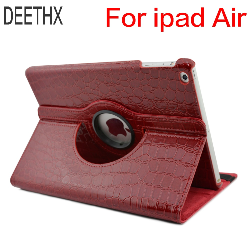 купить Tablet Case For iPad Air A1474 A1475 A1476,360 Rotation Crocodile Leather Protective Sleeve Rotary Cover for ipad case Air 1 недорого