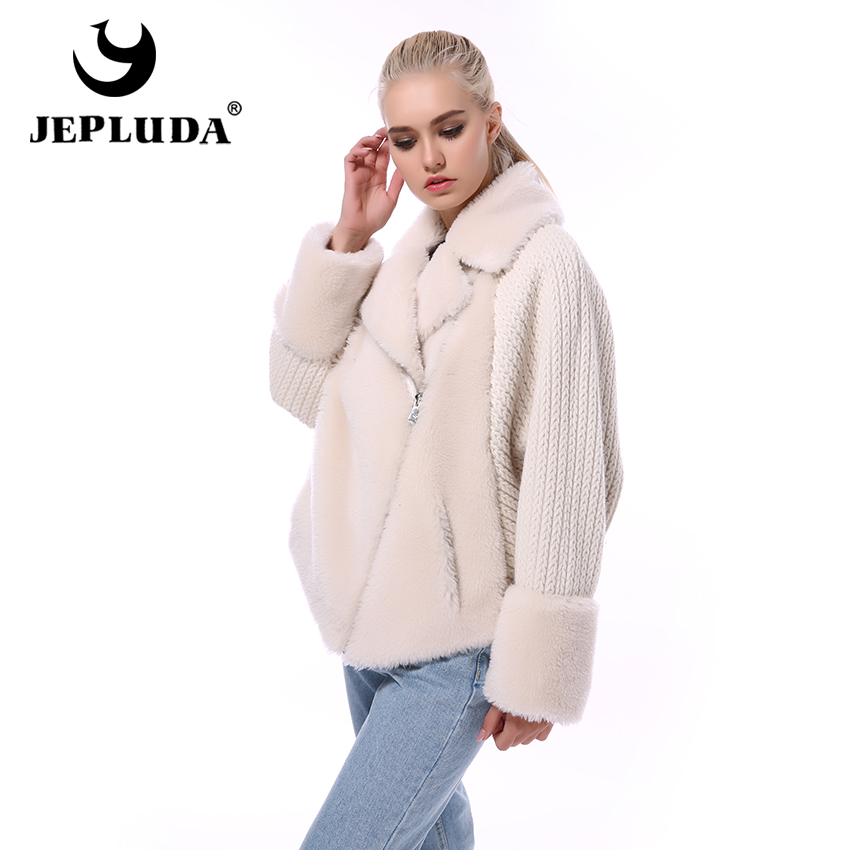 JEPLUDA Fashion Warm Natural 100% Wool Blends Teddy Bear Coat Wool Knit Sleeves Real Fur Coat Women Short Real Sheep Fur Jacket