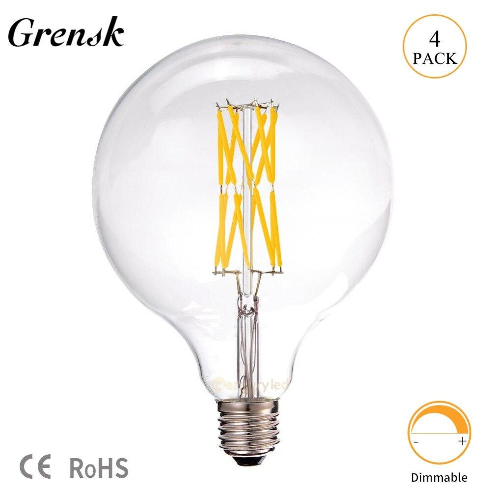 Grensk G125 16W E27 LED Vintage Edison Filament Bulb Ultra Warm 2200K Dimmable Led Lamp 110V