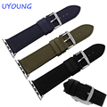Quality Nylon and Leather Watch band 22mm 24mm For Apple Iwatch band 38mm 42mm Nylon Strap