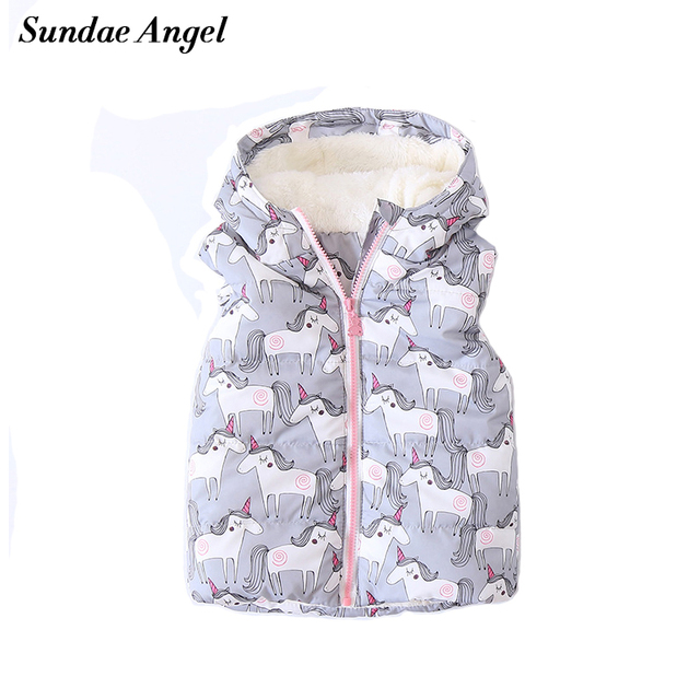 16a842f20 Sundae Angel Winter girls vest Sleeveless Hooded Printing Horse ...