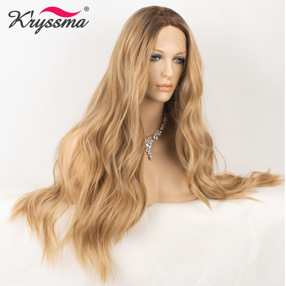 Blonde Synthetic Lace Front Wig Long Wavy Wigs for Women Dark Roots Middle Part Natural Hairline