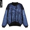 Tangnest mujeres sudadera moda primavera 2017 pullover patchwork collar del soporte de metal de color completo de la calle www793