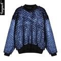 Tangnest mulheres camisola 2017 moda primavera pullover de metal cor patchwork gola streetwear cheio www793