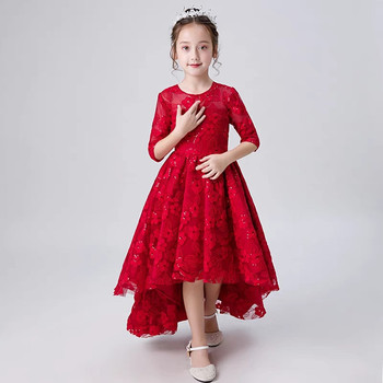 Spring Elegant Baby Kids Embroidery Lace Flowers Birthday Wedding Party Dress Clothes Children Front Short Back Long Tail Dress