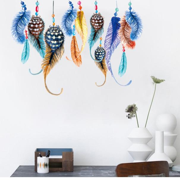home decoration wall art creative color feather bedroom living room bedroom sitting room background wall stickers PVC wallpapers