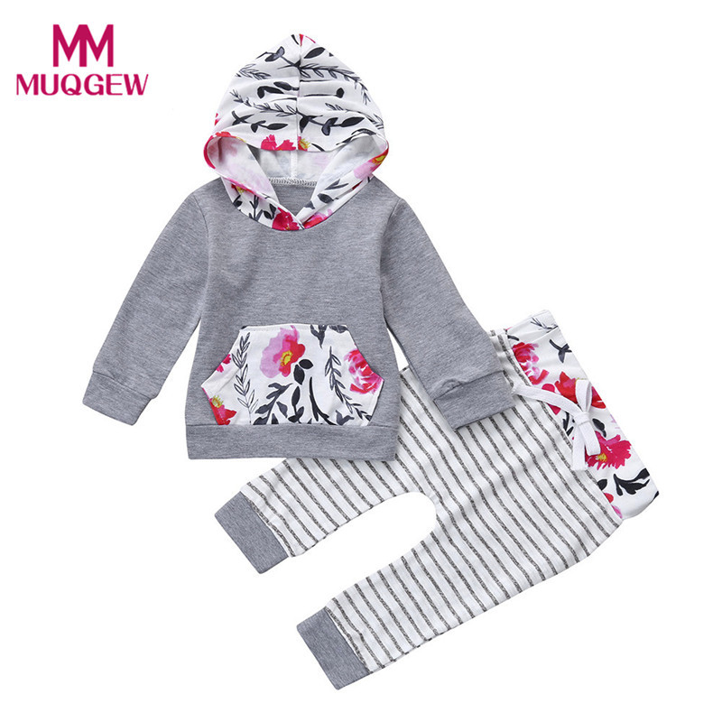 Hot Sale Toddler Baby Girl Stripe Floral Clothes Set Long Sleeve Autumn Hoodie Sweatshirt Tops+Pants Comfortable Outfits