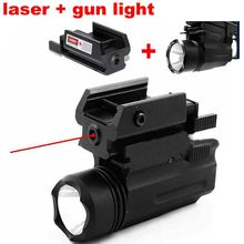цена на Red Dot Laser sight Tactical Picatinny Weaver Rail 20mm Glock Flashlight Combo Lights Pistol Guns Glock 17 19 22 Hunting Laser