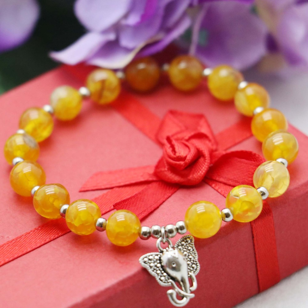 Accessory Crafts 8mm Stone Ethnic Style Yellow Beads Chalcedony Bracelet Hand Chain Women Girls Pendant Elephant Jewelry Fitting