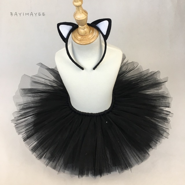 6a7336aa0f Cute Baby Girls Black Cat Tutu Skirts Kids Fluffy Tulle Tutus Ballet  Pettiskirts with Hairbow Kids Party Costume Cosplay Skirt