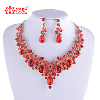 High Quality Rhinestone Jewelry Sets Red Color Crystal Bridal Necklace With Earrings Women Party Dress Jewelry